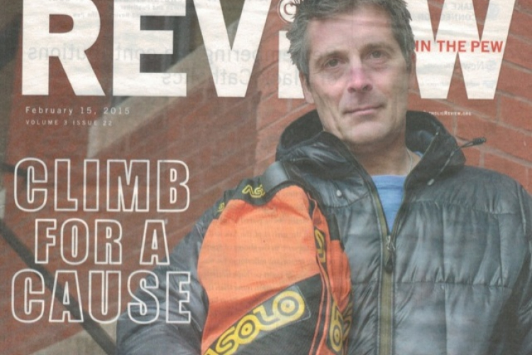 "Climb for a Cause - Mission 14 Lands Cover of The Catholic Review's ""Review in the Pew"""